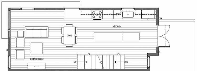 Second Floor Plan of 414B at Oncore Townhomes in Capitol Hill