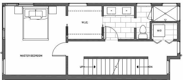 Third Floor Plan of 414B at Oncore Townhomes in Capitol Hill