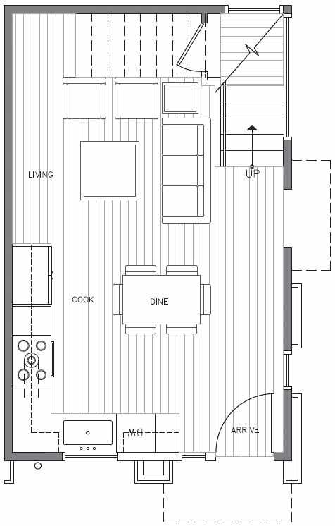 First Floor Plan at 418A 10th Ave E of the Core 6.2 Townhomes in Capitol Hill