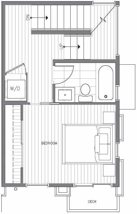 Second Floor Plan at 418A 10th Ave E of the Core 6.2 Townhomes in Capitol Hill
