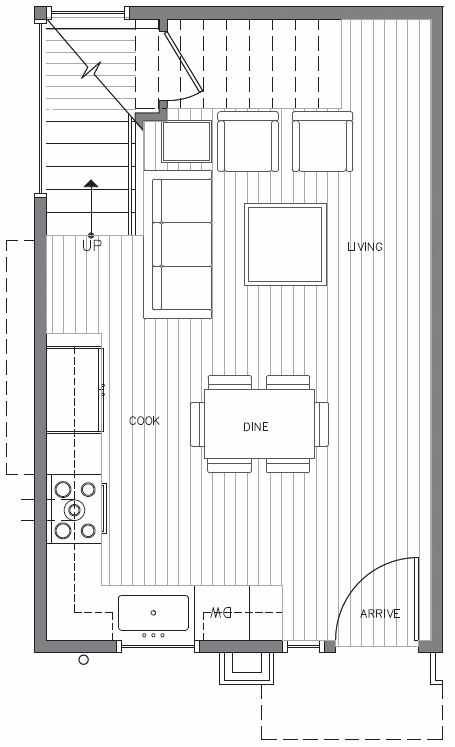 First Floor Plan at 418B 10th Ave E of the Core 6.2 Townhomes in Capitol Hill