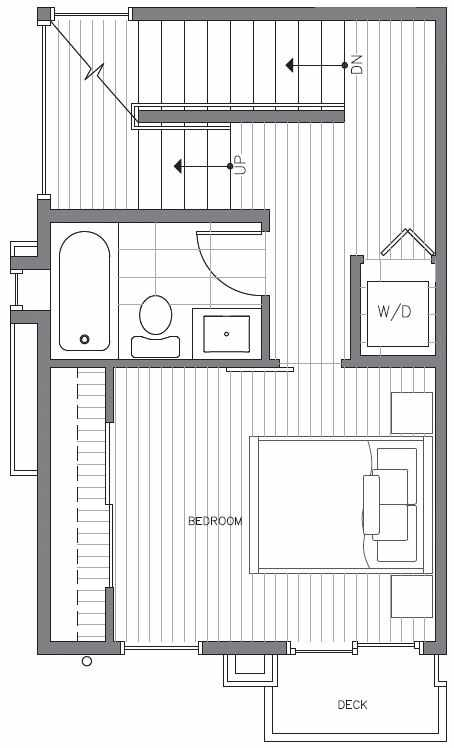 Second Floor Plan at 418B 10th Ave E of the Core 6.2 Townhomes in Capitol Hill