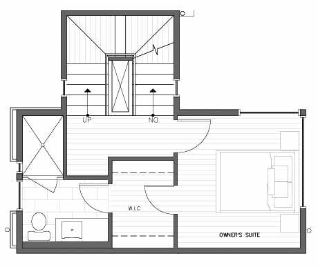 Third Floor Plan at 418D 10th Ave E of the Core 6.2 Townhomes in Capitol Hill