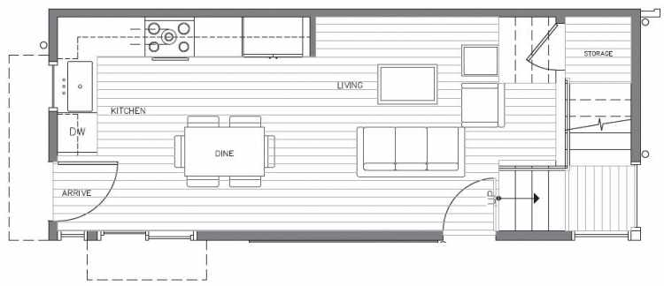 First Floor Plan at 418E 10th Ave E of the Core 6.2 Townhomes in Capitol Hill