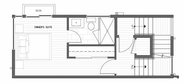 Third Floor Plan at 418F 10th Ave E of the Core 6.2 Townhomes in Capitol Hill