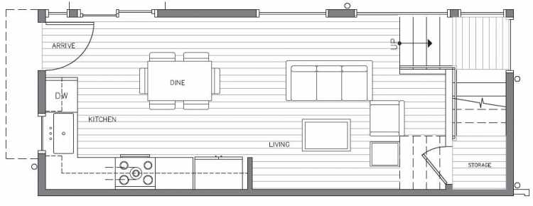 First Floor Plan at 418F 10th Ave E of the Core 6.2 Townhomes in Capitol Hill