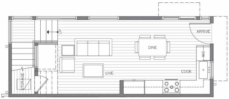 First Floor Plan of 422A 10th Ave E of the Core 6.1 Townhomes in Capitol Hill