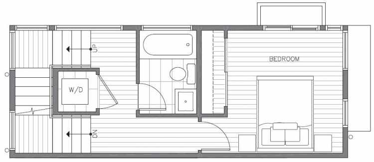 Second Floor Plan of 422A 10th Ave E of the Core 6.1 Townhomes in Capitol Hill