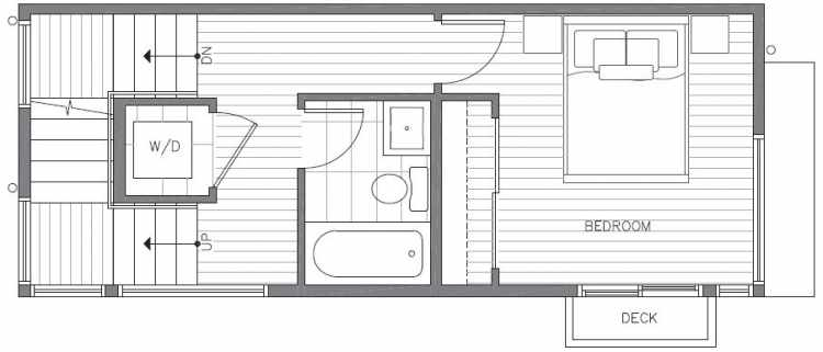 Second Floor Plan of 422B 10th Ave E of the Core 6.1 Townhomes in Capitol Hill