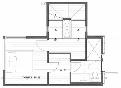 Third Floor Plan of 422C 10th Ave E of the Core 6.1 Townhomes in Capitol Hill
