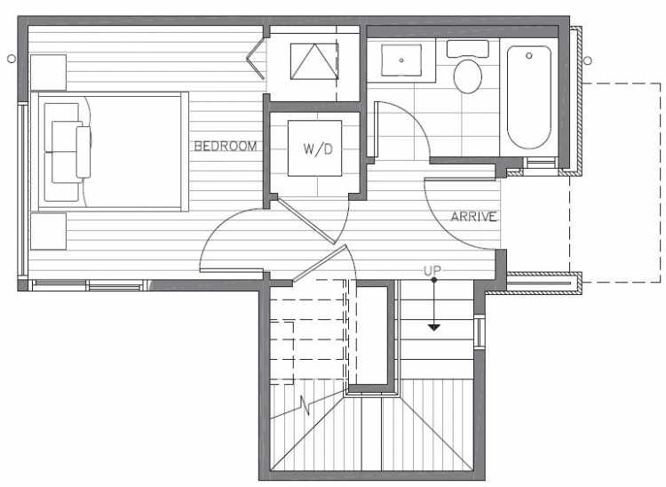 First Floor Plan of 422D 10th Ave E of the Core 6.1 Townhomes in Capitol Hill