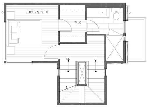 Third Floor Plan of 422D 10th Ave E of the Core 6.1 Townhomes in Capitol Hill