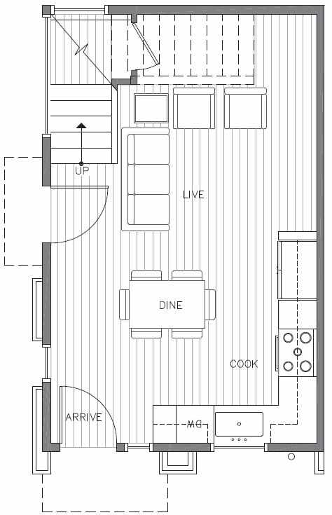 First Floor Plan of 422F 10th Ave E of the Core 6.1 Townhomes in Capitol Hill