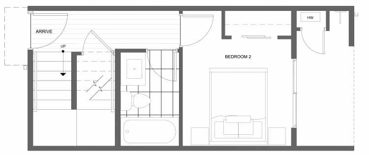 First Floor Plan of 4322B Winslow Pl N, One of the Powell Townhome by Isola Homes