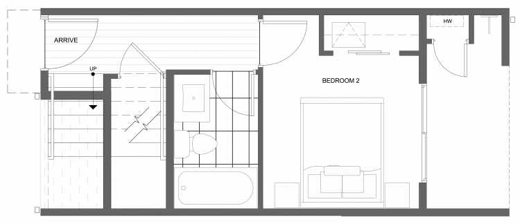 First Floor Plan of 4322E Winslow Pl N, One of the Powell Townhome by Isola Homes