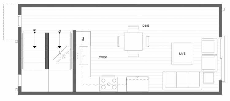 Second Floor Plan of 4322E Winslow Pl N, One of the Powell Townhome by Isola Homes