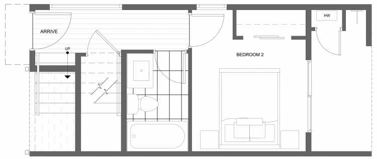 First Floor Plan of 4322G Winslow Pl N, One of the Powell Townhome by Isola Homes