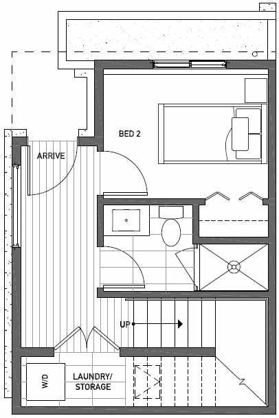 First Floor Plan of 437A NE 73rd Street in Verde Towns 1 by Isola Homes