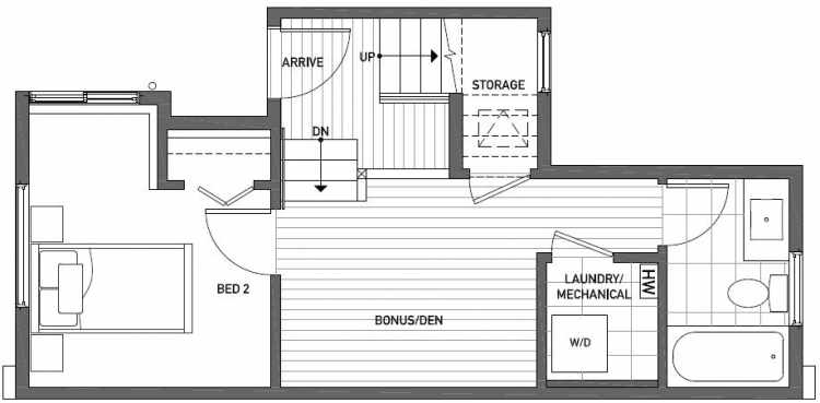 First Floor Plan of 437B NE 73rd Street in Verde Towns 1 by Isola Homes