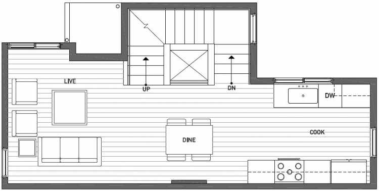 Second Floor Plan of 437B NE 73rd Street in Verde Towns 1 by Isola Homes