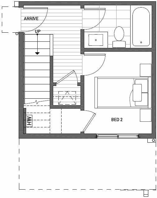 First Floor Plan of 437C NE 73rd Street in Verde Towns 1 by Isola Homes