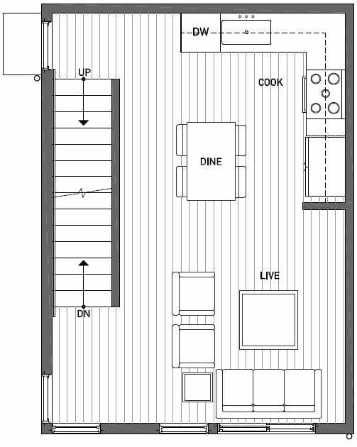 Second Floor Plan of 437C NE 73rd Street in Verde Towns 1 by Isola Homes