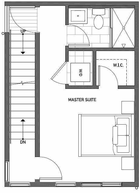 Third Floor Plan of 437C NE 73rd Street in Verde Towns 1 by Isola Homes