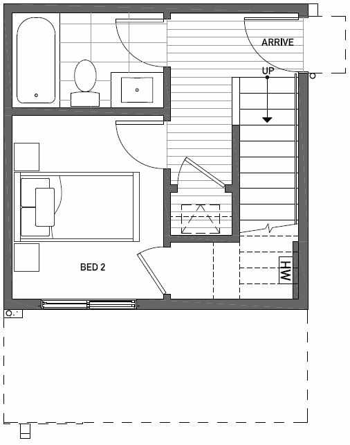 First Floor Plan of 437D NE 73rd Street in Verde Towns 1 by Isola Homes