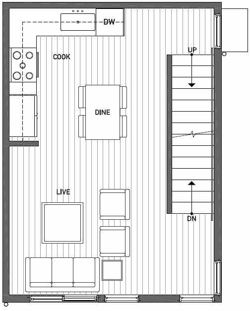 Second Floor Plan of 437D NE 73rd Street in Verde Towns 1 by Isola Homes