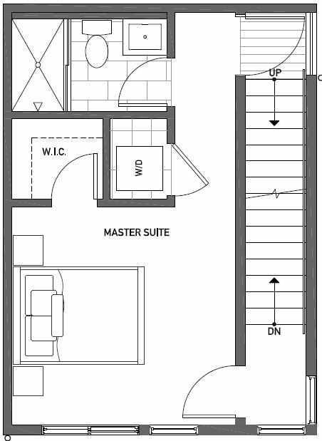 Third Floor Plan of 437D NE 73rd Street in Verde Towns 1 by Isola Homes