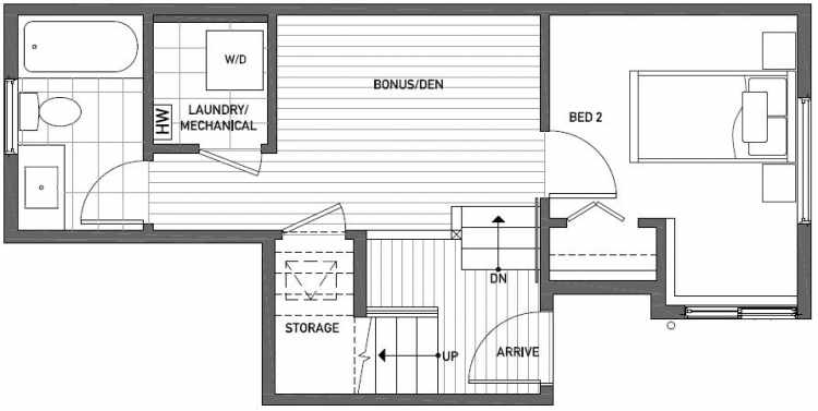 First Floor Plan of 437E NE 73rd Street in Verde Towns 1 by Isola Homes