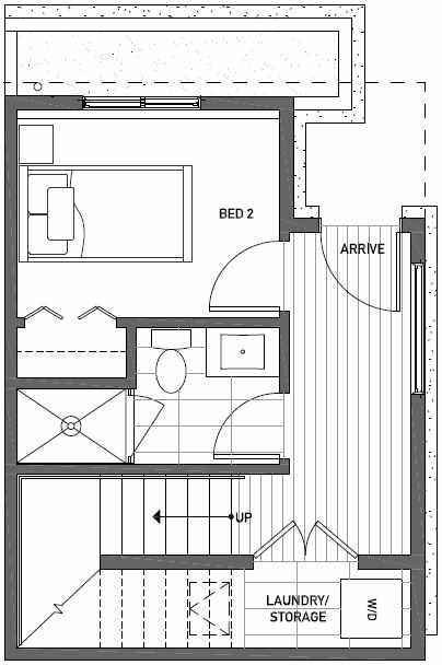 First Floor Plan of 437F NE 73rd Street in Verde Towns 1 by Isola Homes