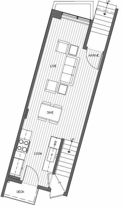 First Floor Plan of 449 NE 73rd St of Verde Towns by Isola Homes