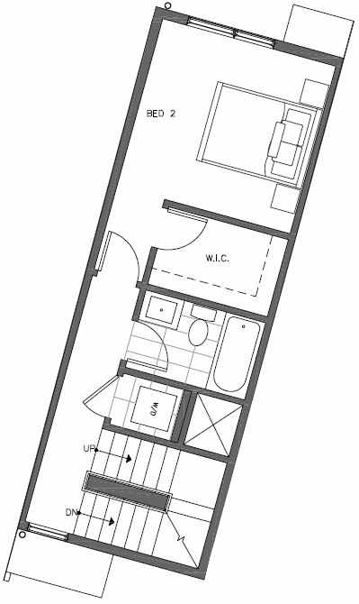 Second Floor Plan of 449 NE 73rd St of Verde Towns by Isola Homes