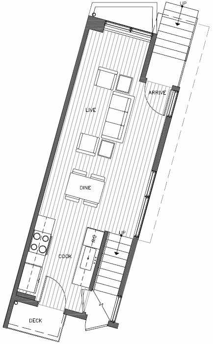 First Floor Plan of 451 NE 73rd St of Verde Towns by Isola Homes