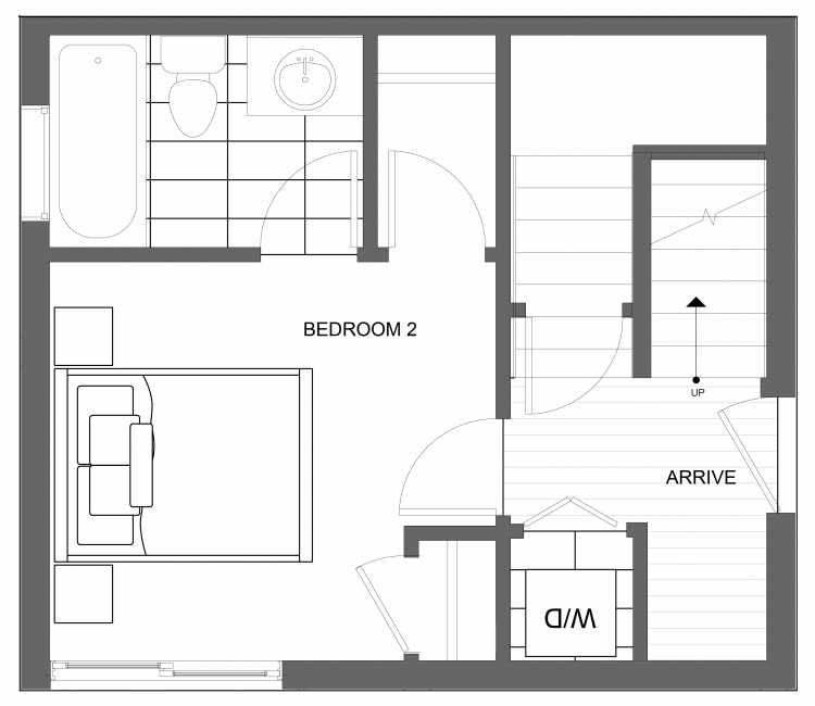 First Floor Plan of 4719A 32nd Ave S, One of the Lana Townhomes in Columbia City