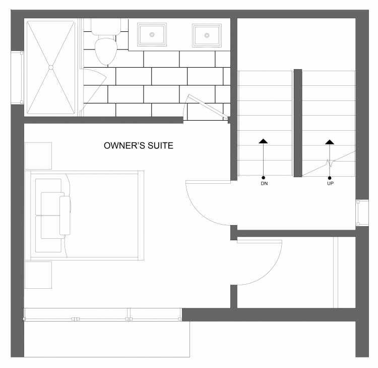 Third Floor Plan of 4719A 32nd Ave S, One of the Lana Townhomes in Columbia City