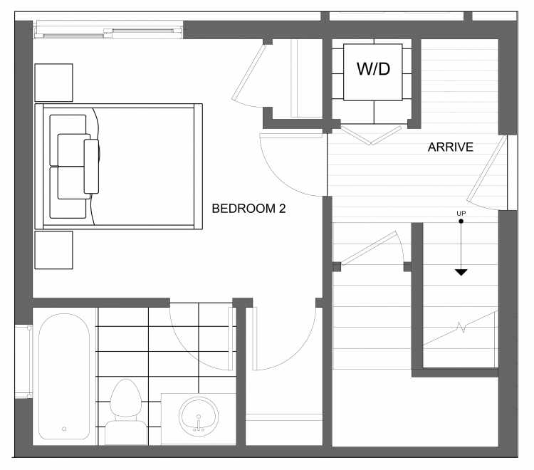 First Floor Plan of 4719B 32nd Ave S, One of the Lana Townhomes in Columbia City