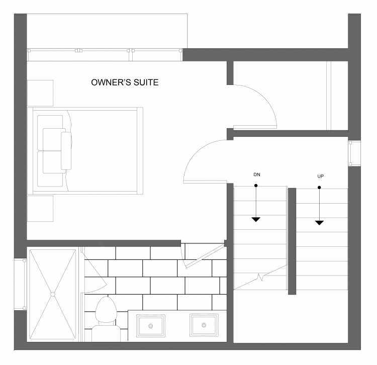 Third Floor Plan of 4719B 32nd Ave S, One of the Lana Townhomes in Columbia City