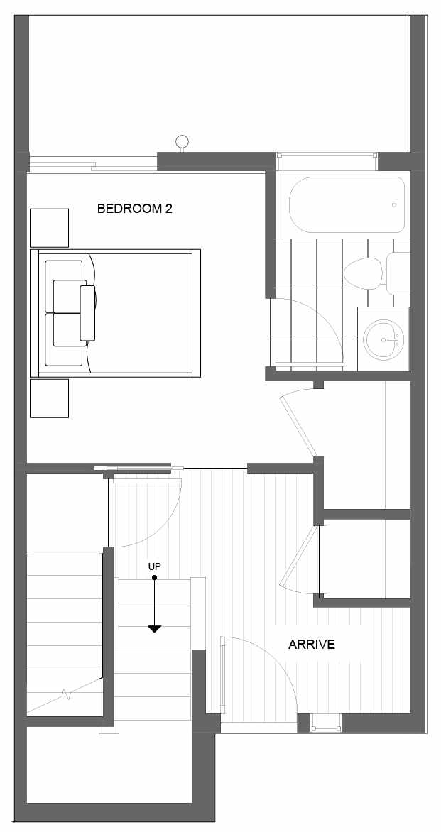First Floor Plan of 4719C 32nd Ave S, One of the Lana Townhomes in Columbia City