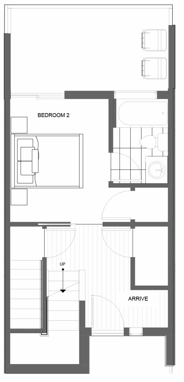 First Floor Plan of 4721D 32nd Ave S, One of the Lana Townhomes in Columbia City