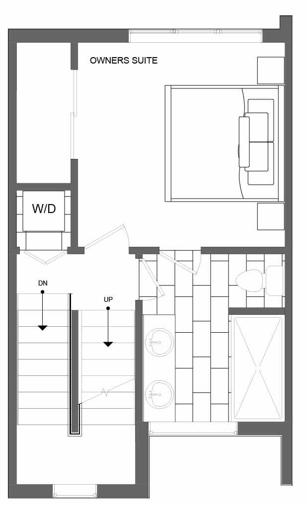 Third Floor Plan of 4721C 32nd Ave S, One of the Lana Townhomes in Columbia City