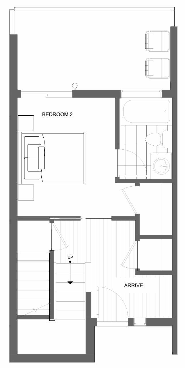 First Floor Plan of 4721E 32nd Ave S, One of the Lana Townhomes in Columbia City
