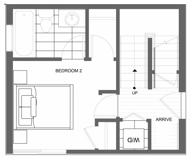 First Floor Plan of 4723A 32nd Ave S, One of the Lana Townhomes in Columbia City