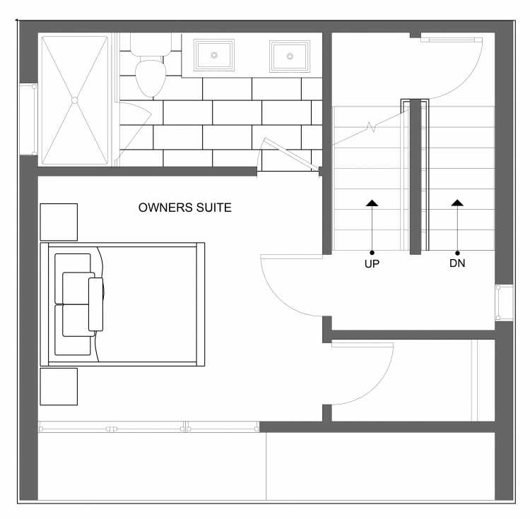 Third Floor Plan of 4723A 32nd Ave S, One of the Lana Townhomes in Columbia City