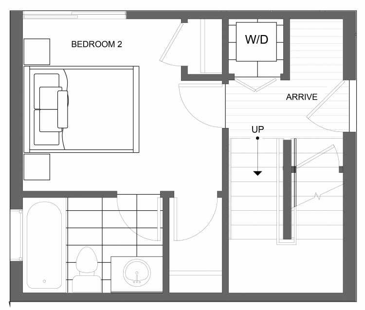 First Floor Plan of 4723B 32nd Ave S, One of the Lana Townhomes in Columbia City