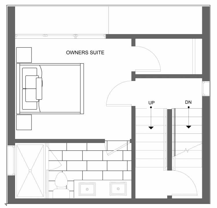Third Floor Plan of 4723B 32nd Ave S, One of the Lana Townhomes in Columbia City
