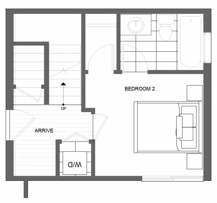 First Floor Plan of 4725A 32nd Ave S, One of the Lana Townhomes in Columbia City