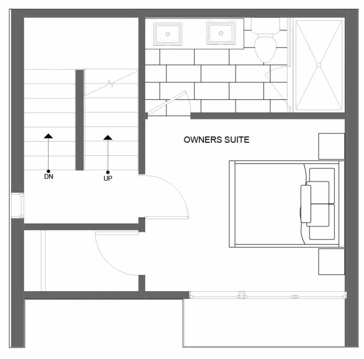 Third Floor Plan of 4725A 32nd Ave S, One of the Lana Townhomes in Columbia City