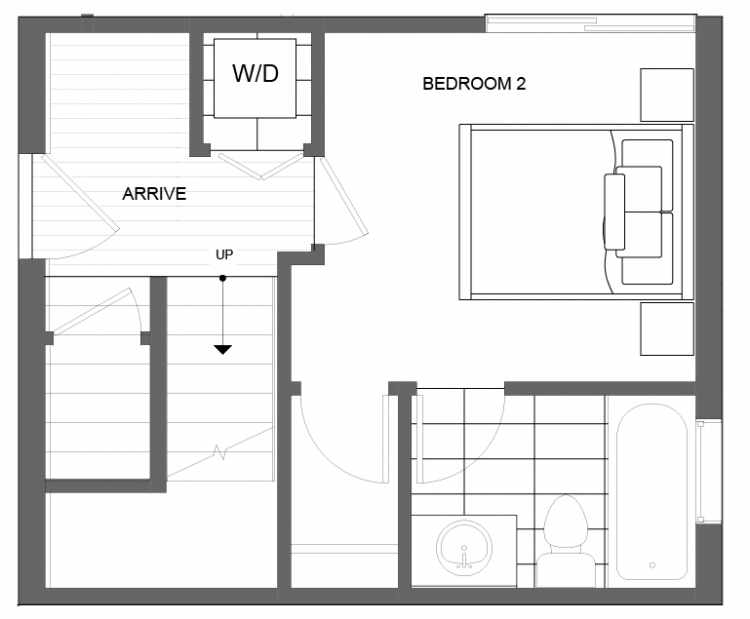 First Floor Plan of 4725B 32nd Ave S, One of the Lana Townhomes in Columbia City